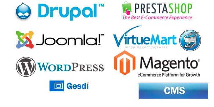 Drupal, Joomla y Wordpress. Prestashop, Virtuemart y Magento.