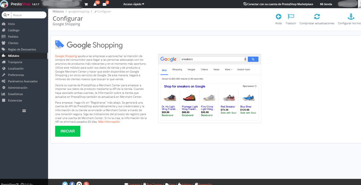 Módulo PrestaShop para Google Shopping