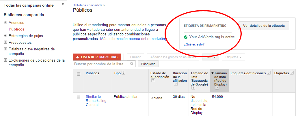 Google Adwords - Etiqueta de remarketing