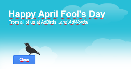 Google Adwords AdBirds - April Fool's Day 2014