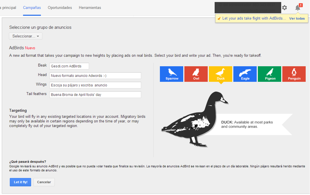 Google Adwords AdBirds - Duck