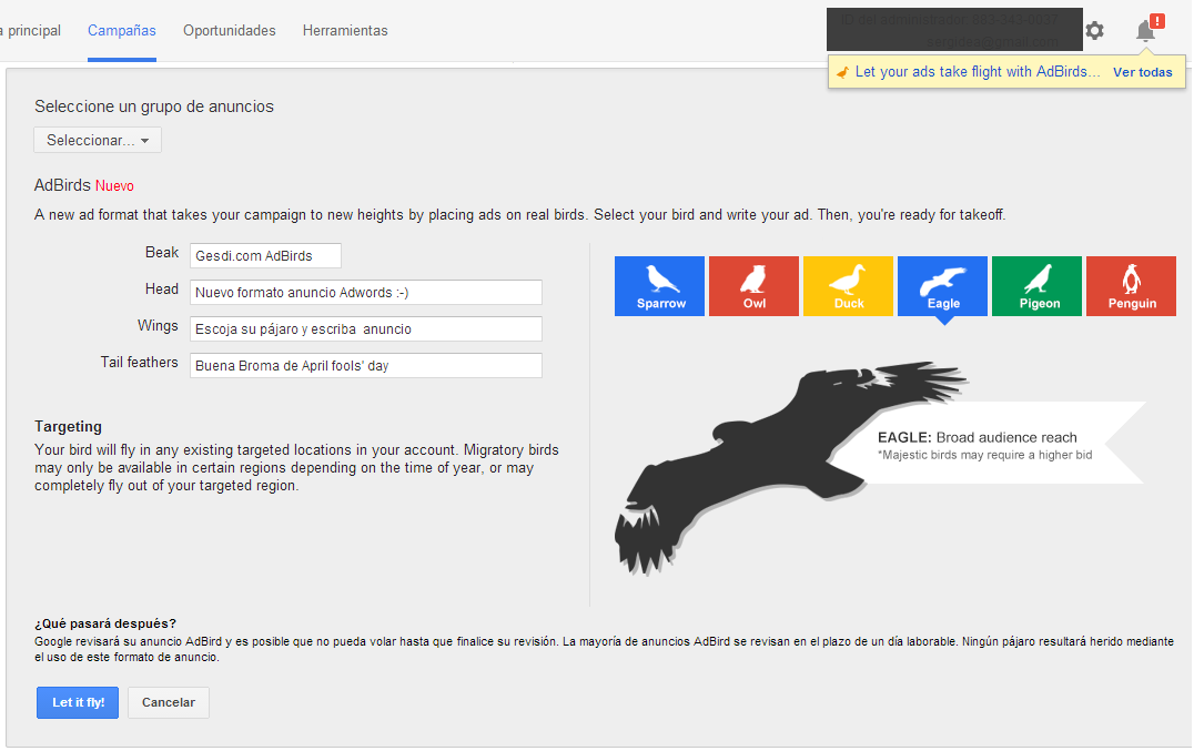 Google Adwords AdBirds - Eagle