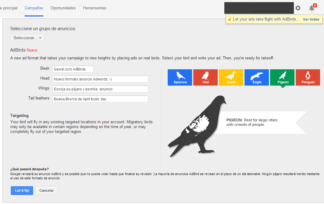 Google Adwords AdBirds - Pigeon
