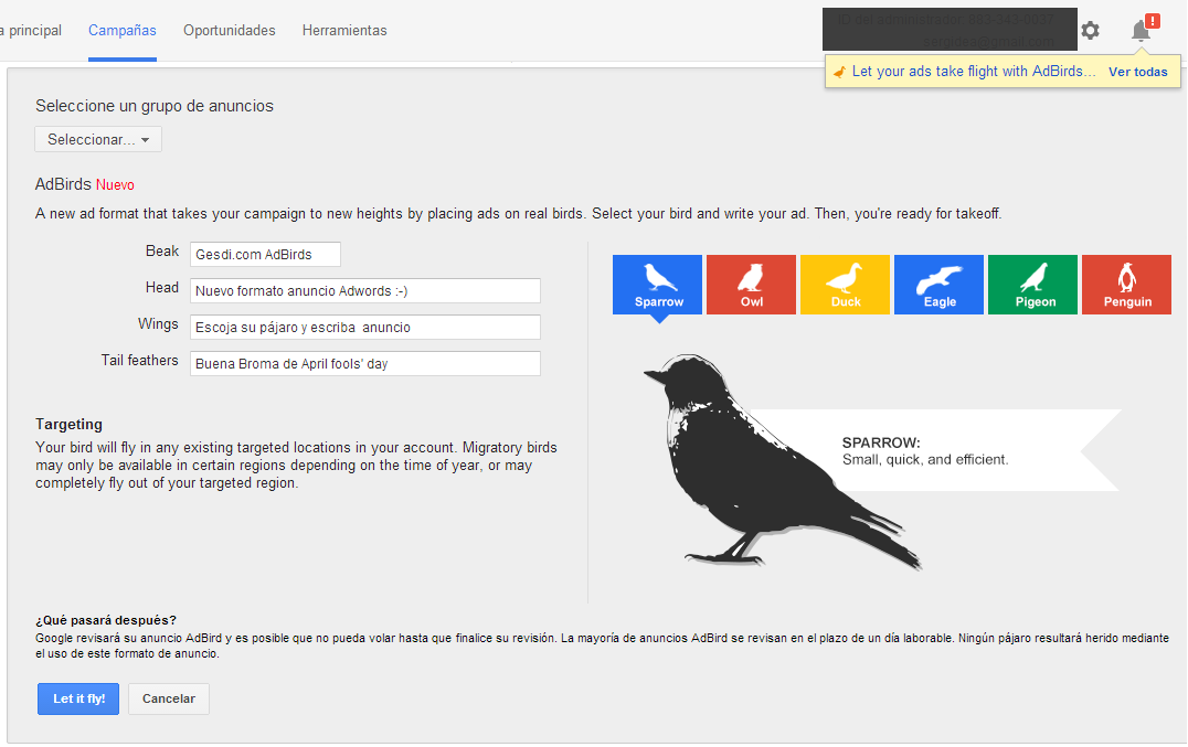 Google Adwords AdBirds - Sparrow